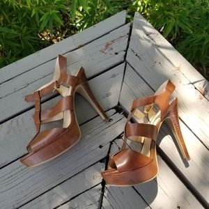 Guess brown leather heels sandals